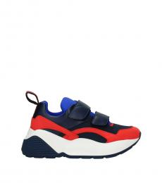 Blue Strap Closure Sneakers