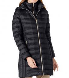Michael Kors Navy Blue Hooded Packable Down Puffer Coat
