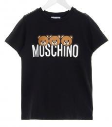 Little Girls Black Teddy T-Shirt