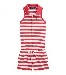 Ralph Lauren Little Girls Nantucket Red Striped Mesh Polo Romper