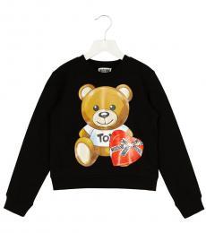 Moschino Girls Black Teddy Sweatshirt