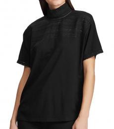 Ralph Lauren Black Lace-Trim Mockneck Top
