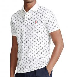 Ralph Lauren White Anchor Print Classic-Fit Polo