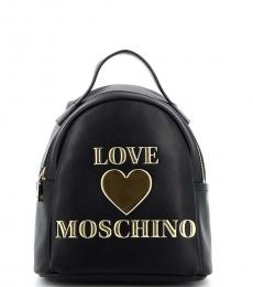 Love Moschino Black Padded Heart Small Backpack