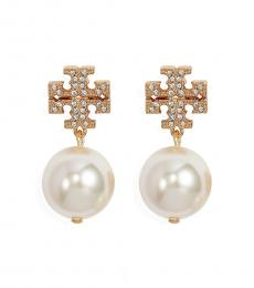 Tory Burch Gold Crystal Pearl Earrings