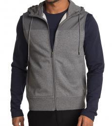 Michael Kors Grey Mixed Media Hooded Vest