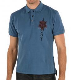 Just Cavalli Blue Cotton Pique Polo