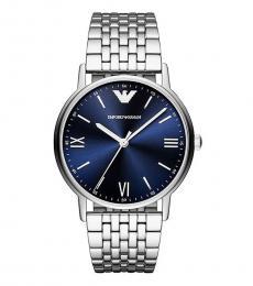Emporio Armani Silver-Navy Blue Logo Watch