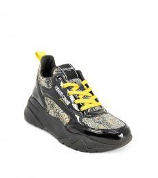 Roberto Cavalli Black Animal-Print Chunky Sneakers