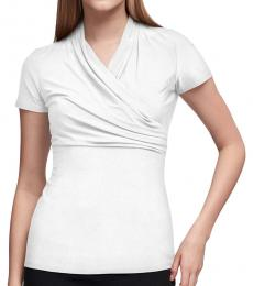 DKNY White Ruched Top