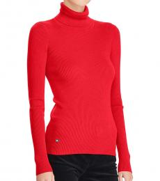 Ralph Lauren Red Ribbed Turtleneck Sweater