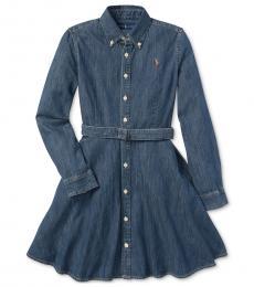 Ralph Lauren Girls Indigo Denim Cotton Shirtdress