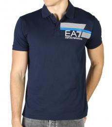 Emporio Armani Navy Blue Front Logo Polo
