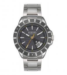 Silver Grey Dial Logo Watch
