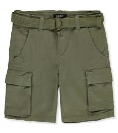 DKNY Boys Olive Belted Twill Cargo Shorts