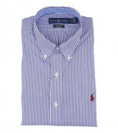 Ralph Lauren Blue White Button Down Classic Fit Shirt