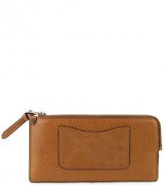 Burberry Light Brown Zip Around Wallet