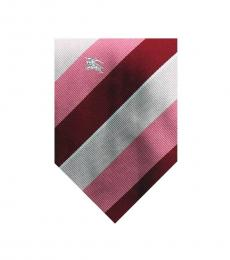 Burberry Red Well Tailored Stripes Silk Tie