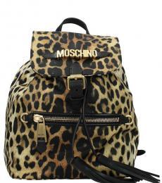 Leopard Print Logo Medium Backpack