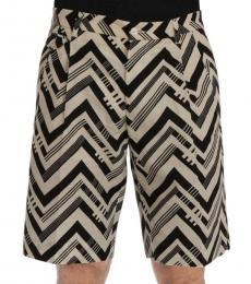 White Black Cotton Linen Shorts