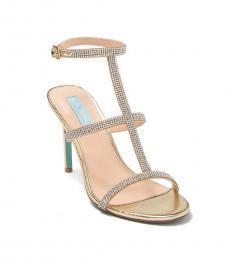 Betsey Johnson Gold Tate Embellished T-Strap Heels