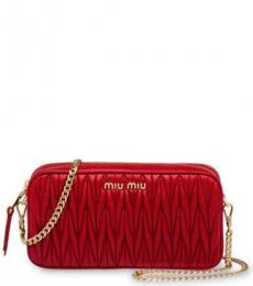 Red Pleated Small Crossbody