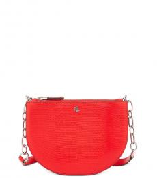 Ralph Lauren Red Embossed Sutton Small Crossbody