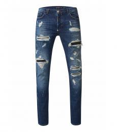 Philipp Plein Blue Straight Cut Jeans