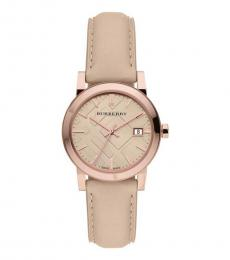 Burberry Natural-Rose Gold Leather Strap Watch