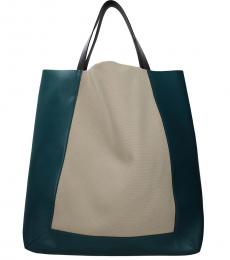 Green/Beige Colorblock Large Tote
