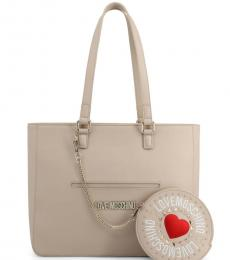 Beige Round Pouch Large Tote