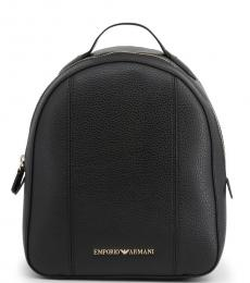 Black Solid Medium Backpack