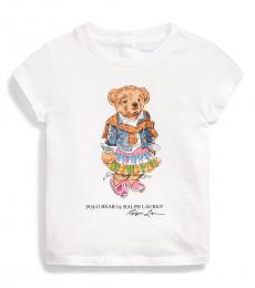 Ralph Lauren Baby Girls White Madras Bear T-Shirt