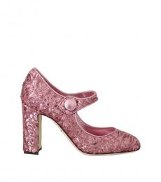 Dolce & Gabbana Pink Sequined Mary Jane Heels