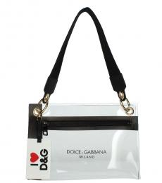 Dolce & Gabbana Black Logo Strap Medium Shoulder Bag