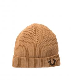 True Religion Wheat Brown New Ribbed Beanie