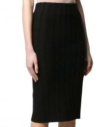 Emporio Armani Black  Ribbed Fitted Skirt