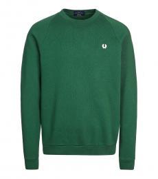Fred Perry Dark Green Logo Patch Sweatshirt
