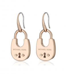 Michael Kors Rose Gold Cityscape Padlock Earrings