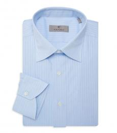 Canali Light Blue Stripe Dress Shirt