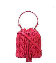 Miu Miu Fuchsia Pleated Small  Bucket Bag
