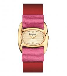 Salvatore Ferragamo Red Gold Enamel Dial Watch