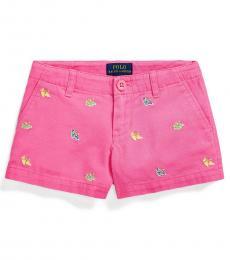 Little Girls Baja Pink Espadrille Chino Shorts