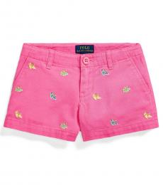 Ralph Lauren Little Girls Baja Pink Espadrille Chino Shorts