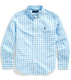 Ralph Lauren Boys Blue Lagoon Gingham Shirt