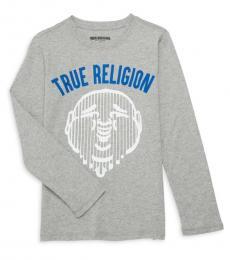 True Religion Little Boys Grey Heathered Graphic Logo T-Shirt