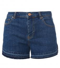 Diesel Blue Frayed Hem Denim Shorts