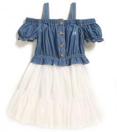 Little Girls Blue 2fer Off-the-Shoulder Dress