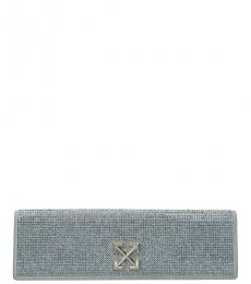 Off-White Blue Studded Logo Clutch