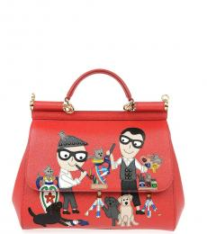 Red Sicily Patches Small Satchel